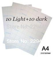 A4 Paper 20pcs=10 Light +10 Dark Inkjet Heat Thermal Press Fabric Transfer Paper Iron On Transfers Water Transfer Printing Paper