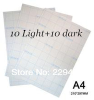 A4 Size Paper 20pcs-10pcs Light +10pcs Dark- Inkjet Heat Thermal Transfer Paper For T shirt Water Transfer Printing For Fabric