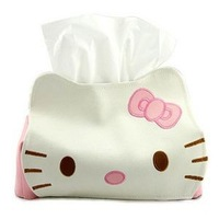Hot selling Car tissue box hello kitty series pu leather cupcake Tissue paper holder