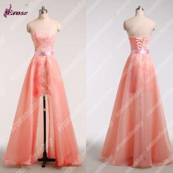 Design Короткий Strapless Appliques Evening Dress With Detachable Skirt R8265