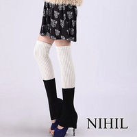 Black sexy stockings 2014 New fashion women's cotton winter thigh high knitting leg Warmers ladies plus size white pathwork hose