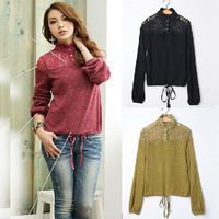 XL~4XL!! 2013 New Autumn Ladies Sexy Plus Size XXXXL Lace Turtleneck Rabbit Fur Cutout Basic Slim Women Shirts Blouses Sweaters