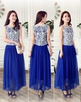 2013 New Hot Vintage Fashion Blue and White Porcelain Print printed  Sundress Sleeveless Chiffon Gauze Maxi Long Dress 66