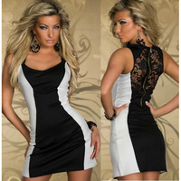 M XL Plus Size Freeshipping 2013 New Fashion Black and White Simple Casual Dress with Lace Zipper Back N113