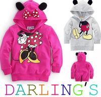 free shipping Retail Child Boys Girls Hoodies Long Sleeve Hoodies Mickey Minnie mouse Hoodie top kids hoodies Pullovers