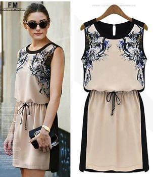 New Hot Summer Print Dresses Vestido Plus Size Beach Dress Casual Chiffon Vestido Praia Sexy Sleeveless O-neck Women SS13D001