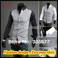 Free shipping Elegant designer High quality long sleeve M L XL XXL new dress button down two tone shirt for men QR-1088