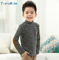 Kids brand Taurababe winter autumn children boy long sleeve cotton striped t-shirt  tuttle-neck cool