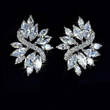 NICETER Oval Cut 18K White Gold Sparking Swiss Cubic Zircon Diamond Stud Earrings (JS002) Fashion Women Wedding Brincos Jewelry