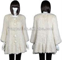 YR-506 Women's Winter Knitted Genuine Rabbit Fur  Coat