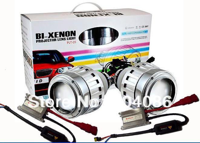 G5 HID projector lens headlight kit+Bixenon Hight Low light+2XAngel Eyes+2XDevil Eyes+2XBallast+9006 9007 9005 H1 H4 H7(China (Mainland))