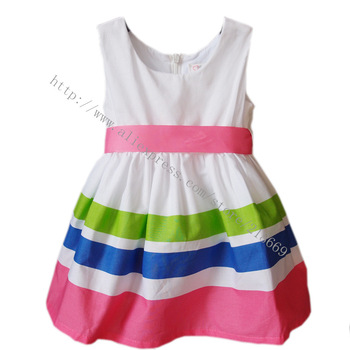 free shipping 2014 fashion children dress Stripe girls' dresses size for the girl 2-5 years,Wholesale and retail