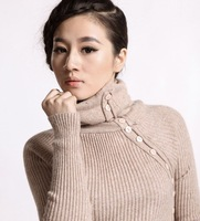 2013 Winter autumn women's turtleneck sweater thickening Slim warm sweater with high collar&button long sweater free shipping