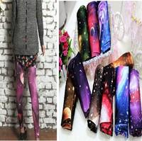Free shipping August New Galaxy Footless Leggings ,Space Print Leggings For Women,Galaxy Legwear