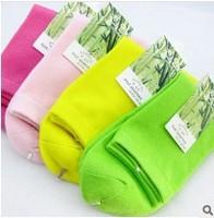 10Pcs=5Pairs=1lot  women bamboo fiber socks cotton tube socks in winter solid color cotton socks