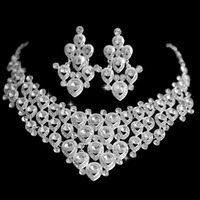 New 2013 Free Shipping Tassel Cubic Zirconia Jewelry Sets Crystal Bridal Wedding Jewelry Necklace and Earrings for Women Party