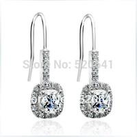 2ct  Princess cut wedding earring for women Synthetic diamond earrings Anti allergic earring sterling silver Finish white gold