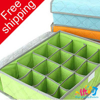 [High quality protects]sixteen-lattice sock storage box/ underwear box 2pcs/lot