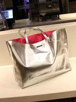 2013 Hot-selling Bright silver brief handbag / shopping bag / women's beach package handbag / Free shipping