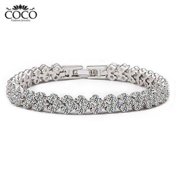 Luxury AAA  Zircon Fashion Roman Bracelets Women 18k Gold Plated  COCO Brand Jewelry CB014 Wholesale