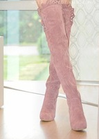 2013 autumn and winter boots tall boots over-the-knee 25pt lace decoration elevator knee-length boots martin boots
