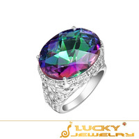46ct Fashion Shiny Queen Party Accessories mystic topaz rings 925  silver Rings Free shipping R0650