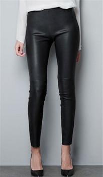 Знаменитости стройная линия искусственного кожаные штаны высокое качество хлопка ...