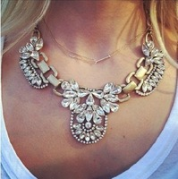 Min order $10 New Arrive Design Luxury Crystal Retro Pendant Chain Choker Statement Necklace Fashion Jewelry Gifts For Women