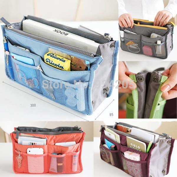 Lady Women Insert Handbag Organiser Purse Large Liner Organizer Bag Tidy Travel(China (Mainland))
