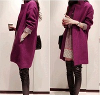 2013 new autumn winter elegant coat women's coats long woolen coat women Slim thick warm coats tops female coats SZM0107