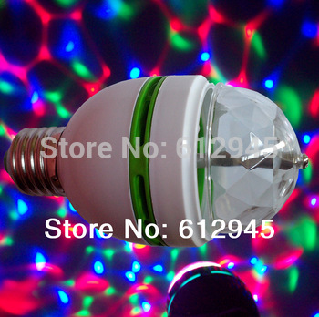 2013 Strobe effect E27 3W Colorful Rotating magic Disco Ball Light 100pcs/lot mini type