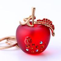 Novelty items Rhinestone Red Apple Wedding Couple Keychain Luxury Charms Key Chains Creative Gifts Car Keychain Pendant Trinkets