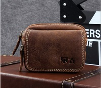 YUANGU 0713C High Quality Vintage Casual 100% Genuine Full Grain Leather Cowhide Men Small Waist Bag Bags Waist Packs For Men