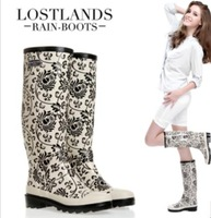Women Rain Boots New 2014 High Quality Eco-Friendly Rubber Boots Rainboots Botas Femininas  Porcelain Mosaic Galocha Sapatos
