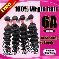 Queen Star hair products Brazillian virgin hair Deep wave 4Bundles curly Hair Weave, rosa human hair extensions new star