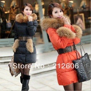 2013 High Quality Women's Luxury Large Fur Collar Slim Medium-Long Thermal Down Coat Autumn and Winter Female Colorful Coat