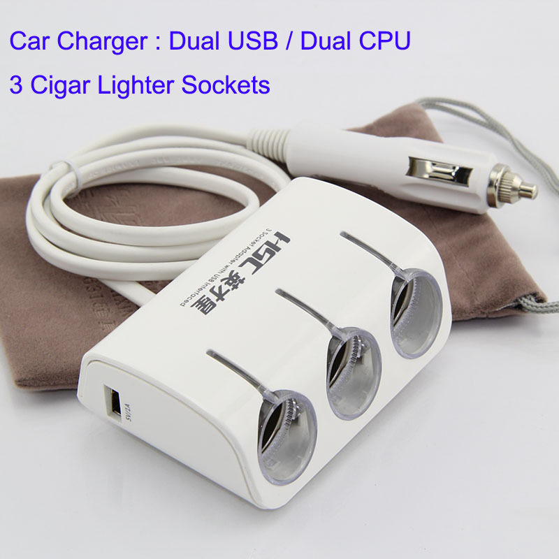 Car Charger USB Dual CPU 3 Cigar Lighter Sockets in 1 Charger 120W Ouptput Power White Light Blue(China (Mainland))