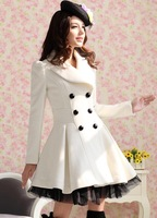 OWIND   New 2014 Slim Casual Women's Wool cashmere Coats double breasted trench Fashion Style