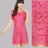 2013 fashion water soluble lace cutout organza loose plus size one-piece dress