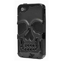 1pcs/lot 3D PC Soft Silicon Silicone 2 in 1 Skull Ghost Evil Devil Bronze Case Cover For Apple iPhone 4 4G 4S