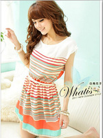 2014 summer New Fashion Colorful Stripes orange Chiffon Mini Dress Women's Dresses   #C0700