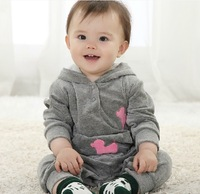 Hot sale baby boy girl rompers,baby outwear,children sport suits new 2013 ,spring and autumn jacket with a hood,baby 1 pcs sets