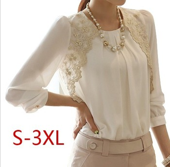 New 2014 Fashion autumn spring Women Elegent Lady Lace Hollow Out Chiffon Embroidery Blouse Shirt Basic Top render casual S~3XL