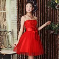 New Bride Short Design Cotton Strapless Wedding Dress Bow Tube Top Formal Dress
