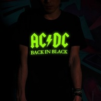 New style personality 2013 summer Short-sleeved Punk Nightclubs glow T-shirt of AC / DC band t shirt for men Free shipping