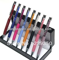 Hot sale free shipping 10pcs/lot  wholesale Promotion  14 Different Color Crystal Pen  Roller Ball Gift Roller ball Pen