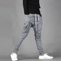 2014 New Arrival Men's Regular Fit Sports Harem Pants Bag Jogging Trousers Casual Sports Pants Black/Dark Gray 16719