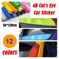 "12"" x 48""/30CMX120CM Auto 4D Cat's Eye Car Sticker Smoke Fog Light HeadLight Taillight Tint Vinyl Film Sheet Free Shipping"