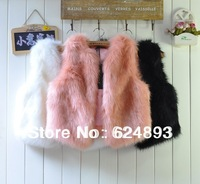 2014 Autumn and Winter New Design Fashionable Brief paragraph Straw colour faux Fur Vest/ gilet /outwear womens free shipping