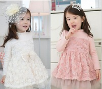 (100-140cm) 5pcs/lot new 2013 chiffon Tulle Gauze lace rose girls dresses bow children clothing free shipping  pink white